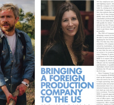 Bringing a foreign production company to the us