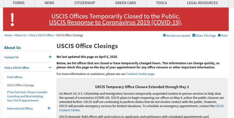 CLOSURES OF USCIS OFFICES