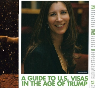 """A Guide to US Visas in the Age of Trump"" By Andrea Szew IF Magazine April/May 2017"